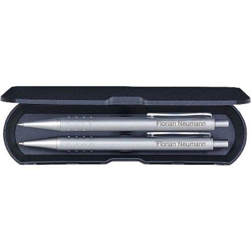Schreibset mit Namen: Kugelschreiber und Bleistift - silber