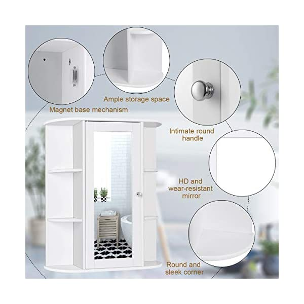 Tangkula Bathroom Cabinet, Single Door Wall Mount Medicine Cabinet with Mirror(2 Tier Inner Shelves)