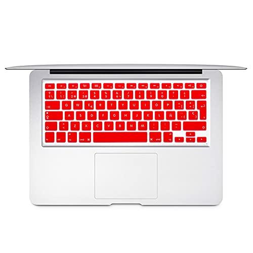 Español Chile EU teclado protector cubierta para Mac Book Air13 pro15 Retina A1466 A1502 A1398 A1278 piel colorido teclado película-rojo