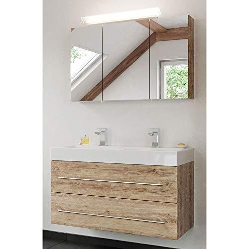 Lomadox - Set de baño en Roble Claro con Lavabo de Mineral Fundido y Armario con Espejo LED