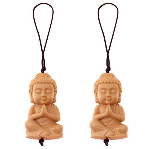 Pequeño llavero de madera de Buda – amuleto de la suerte y talismán – colgante de bolsillo budista con figura de Buda (juego de 2)