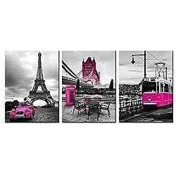 Hot Pink Wall Decor Paris Eiffel Tower Bathroom Canvas Prints Pictures for Bedroom London City Landscape Girls Home Decorations 12×16 Dark Purple Car Big Ben Bridge Framed Printing Posters 3 Panels