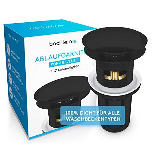 Bächlein Universal Ablaufgarnitur mit Überlauf - [in edlem Schwarz] Pop Up Ventil – Ablaufventil Abflussgarnitur aus Messing - Einbau mit Anleitung werkzeuglos
