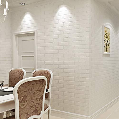 kengbi Fácil de decorar papeles pintados duraderos populares de color blanco 3D diseño moderno ladrillo papel pintado rollo vinilo pared cubierta papel de pared para sala de estar comedor tienda fondo