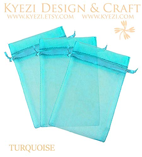 """100 pcs 3""""x4"""" Sheer Drawstring Organza Bags Jewelry Pouches Wedding Party Favor Gift Bags Gift Bags Candy Bags [Kyezi Design and Craft] (Turquoise)"""