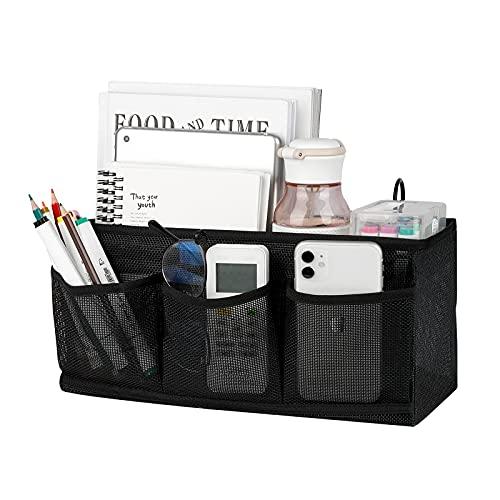 Trycooling Bedside Caddy/Bedside Organizer Caddy Hanging Storage with 3 Pockets for Dorm Hospital College Bunk Bed (Black)