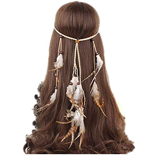 ysister Pluma Diadema Borla trenzada Pluma Damas Bandas tocados Indio Pluma Tocado Festival de Carnaval de Boho Accesorios para el cabello para baile, fiestas o cosplay
