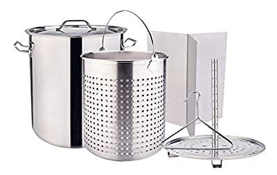 ARC USA, 64QT ALL IN ONE Function Stainless Steel Stock Pot with Basket, Steamer, Divider and Hook, for Seafood Boils, Crawfish, Crabs, Tamale, Fish Fry, Turkey Fry (64QT)