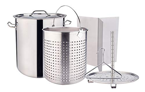 ARC, 64QT 16 Gallon ALL IN ONE Function Stainless Steel Stock Pot Tamale Steam Pot Turkey Pot and Basket, Steamer, Divider and Hook, for Crawfish, Seafood, Tamale, and Turkey cooking