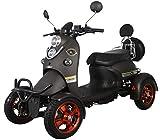 Nuevo scooter eléctrico estilo retro de 4 ruedas extra estabilidad para minusválidos y personas mayores hasta 25 km/h motor de 800 watt 60V 100AH Negro Green Power