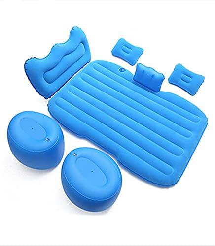 JIEZ Cama de Viaje para automóvil, Asiento Trasero, sofá Inflable de Aire, colchón, Multifuncional, para Acampar al Aire Libre, Mate, Cama Inflable de Gran tamaño General, Azul