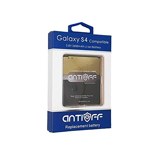 Samsung Galaxy s4 Replacement Compatible 2600mAh Battery. ANTIOFF Spare Battery for antioff Battery Charger case.