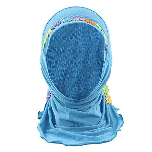 ZZBO Kinder Turban Hut Elegante Gesichtsschleier Hidschab Schal Ramadan Kopfbedeckung mit BlumenBestickt Hijab Kappe Mädchen Cap 100% Baumwolle Haar Kopftuch Islamischen