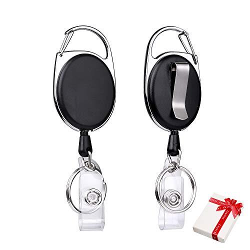 2 Stück Schlüssel JoJo,Ausziehbar Schlüsselanhänger Ausweisinhaber,mit Extra Starker Reißfester stahlseil-Schnur, Stabil Einziehbare Schlüssel-ziper-band schlüsselbund mit 65cm Stahldrahtseil-Schwarz