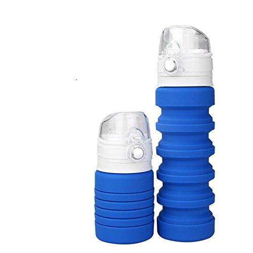 【Freesia】伸縮自在おしゃれ便利折り畳み式エコボトル冷たい温かい飲み物氷もOK軽量丈夫フック付きドリンクボトル