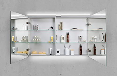 Intarbad ~ Spiegelschrank 110 cm LED Beleuchtung doppelseitig verspiegelt Grau Matt Lack IB1563