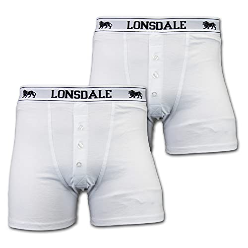 Lonsdale 2 x Herren Unterwäsche Boxershorts Trunk Boxer Shorts Weiß (XXXXL)