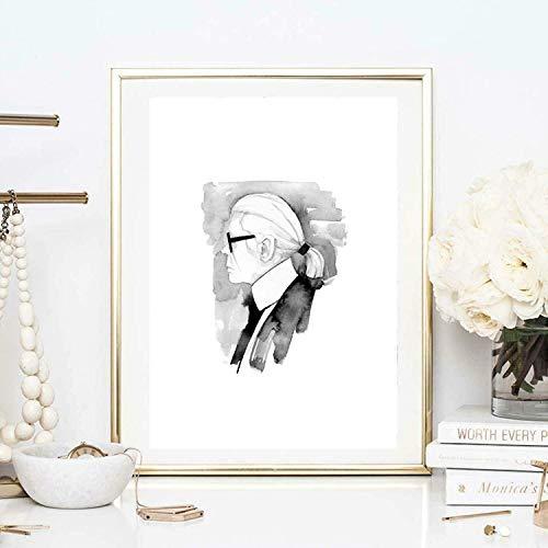 Din A4 Kunstdruck ungerahmt Karl Lagerfeld Portrait Profil Designer Schwarz Weiß Aquarell Geschenk Druck Poster Bild
