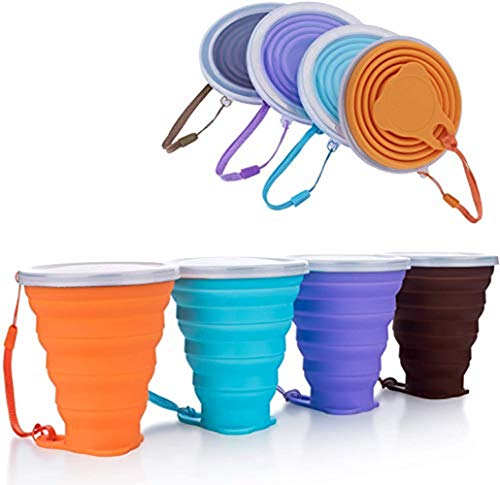 Hokone Silicone Collapsible Travel Cup, Folding Camping Cup with Lids Silicone Mug Portable for Camping Drinking Coffee