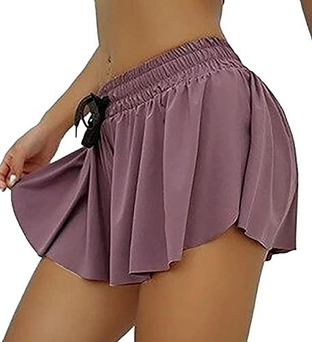 Ducomi Shaz - Falda deportiva para mujer, niña, para tenis, correr, golf, ropa deportiva con falda elástica, minifalda de verano, morado, L