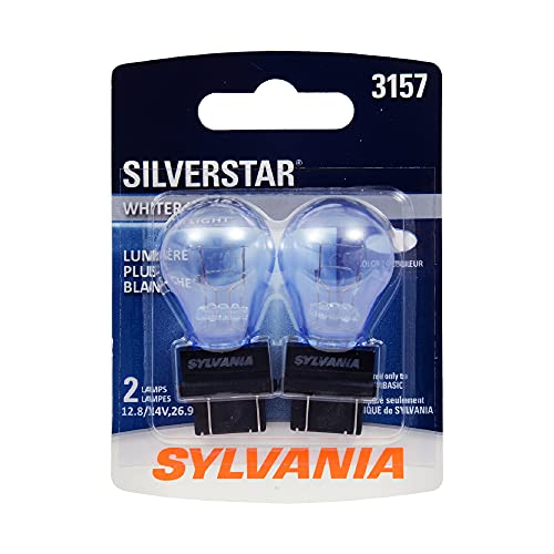 SYLVANIA - 3157 SilverStar Mini Bulb - Brighter and Whiter Light, Ideal for Daytime Running Lights (DRL) and Back-Up/Reverse Lights (Contains 2 Bulbs)