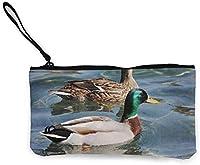 女性女の子キャンバスキャッシュコイン小銭入れリストストラップ付き小さな収納バッグ-青い動物マガモ野鳥自然写真