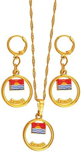 Aluyouqi Co.,ltd Collar Collar Kiribati Y Boboto Bandera Conjunto De Joyas Collar Pendientes para Mujeres Niñas Niños Color Dorado Étnico