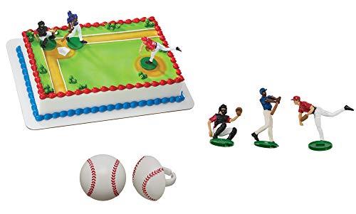Batter Up Cake Topper & 12 Pack Baseball Cupcake Rings