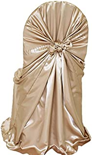 Wedding Linens Inc. (2 PCS) Satin Universal Chair Covers / Self-Tie Chair Cover for Restaurant Wedding Party Banquet Events – Champagne