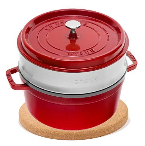 Cocotte ronde avec insert vapeur (26 cm, 5,0 l, compatible induction, avec émail noir mat à l'intérieur de la casserole) Cerise & dessous de plat en liège magnétique 24 cm
