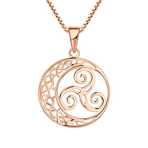 YL Celtic Knot Necklace 925 Sterling Silver Triskele Moon Pendant 18k Rose Gold Triskelion Jewelry for Women