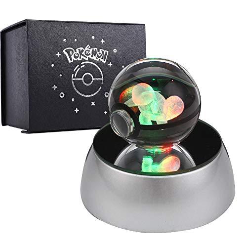 Herefun 3D Kristall Ball, 3D-lasergravierte Kristallkugel Geschenkideen Pokemon Lasergravierte Kristallkugel für Geburtstag mit Drehbarer LED-Sockel - Squirtle
