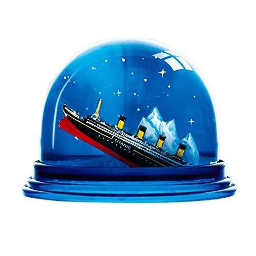 Dresden de Online Shop Puesta de Bola de Nieve de Titanic Am Iceberg, Azules sacudido Bola Brillantes Copos de Nieve Fabricado en Alemania