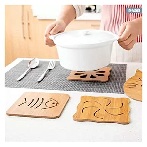 FORETTY POW729 7 Kinds Pattern Kitchen Bamboo Wood Insulation Mat Table Mat Anti-slip Pot Mat Creative Cute Tea Cup Mat Anti-hot Cup Mat Heat-resistant Pad (Color : Big fish bone)
