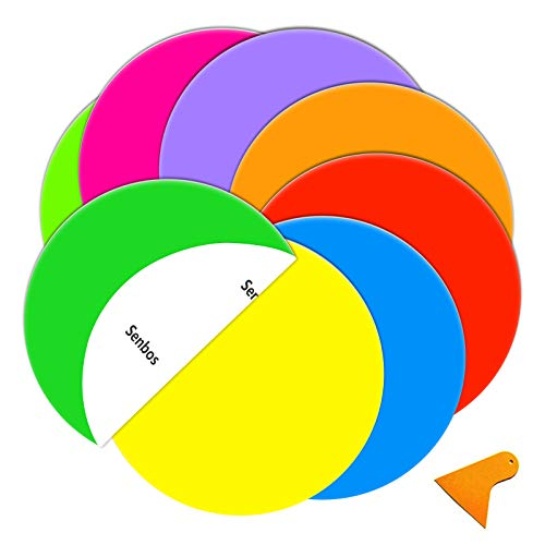 Senbos Colorful Dry Erase Dots Circle, 8 Pcs Round Primary Color Removable Dry Erase Vinyl Dots Whiteboard Marker Wall Decals Sticker for School Classroom Teachers Students Table & Desk, 11.8 inch
