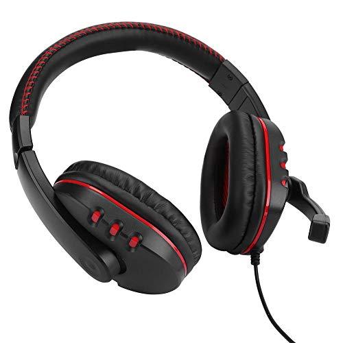 Op het hoofd gemonteerde gaming-hoofdtelefoon, Computerheadset Hoge prestaties, met subwoofer Spraakspoelluidsprekers, Luchtringopening, Ruisonderdrukkingsmicrofoon, Met zachte oorkappen(Zwart rood)