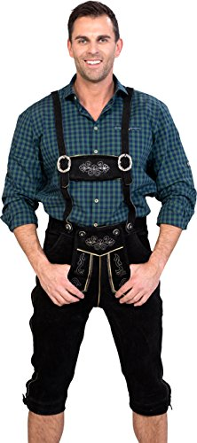 Almwerk Herren Trachten Lederhose Kniebund Modell Sepp in schwarz, braun und Hellbraun, Farbe:Schwarz;Größe Herren:52