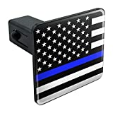 Graphics and More Thin Blue Line American Flag Tow Trailer Hitch Cover Plug Insert 1 1/4 inch (1.25