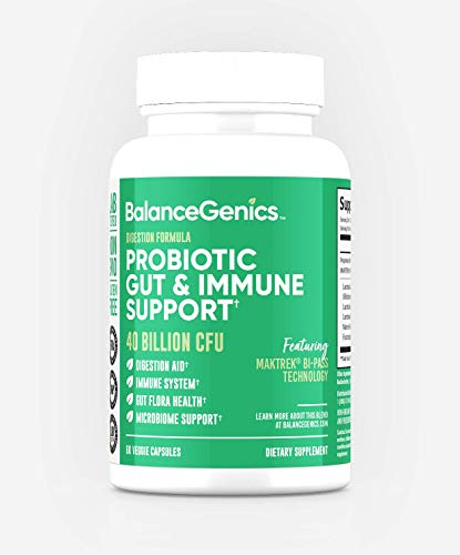 Probiotic 40 Billion CFU Supplement – Digestive Enzymes for Gut Health and Immune Support – Shelf Stable Lactobacillus Acidophilus with Guaranteed Potency Until Expiration (30 Servings)