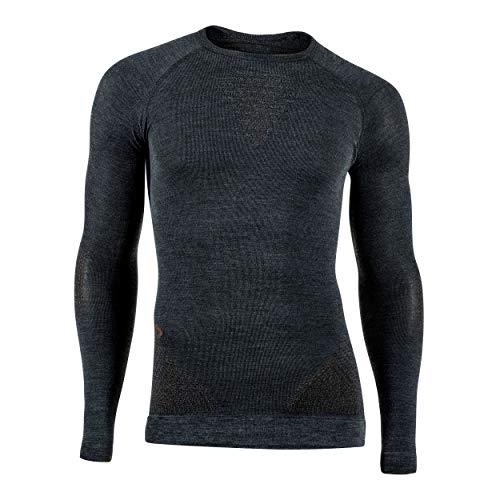 UYN Man UW Shirt LG_SL, Fusyon Cashmere Maglia Intima da Uomo Manica Lunga, Grey Rock/Brown, L/XL