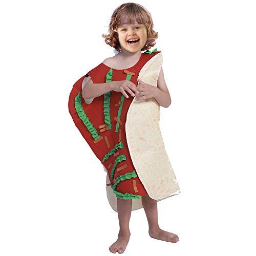 JJAIR Kinder Burrito Kostüm, Lustig Taco Kostüm Overall Lebensmittel Kostüme Lebensmittel-Themed Parteien