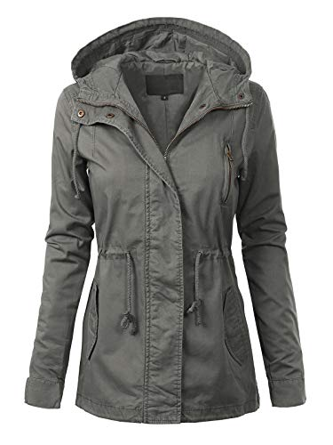 MixMatchy Women's Casual Lightweight Militray Safari Anorak Utility Hoodie Jacket Clay Green L