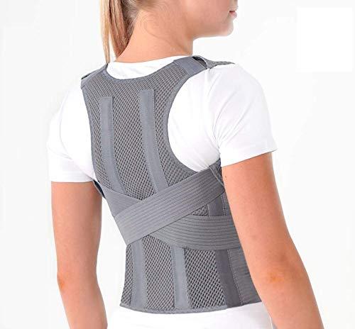 TOROS-GROUP Corrector de Postura Espalda; Soporte de Espalda y Columna Lumbar; Aliviar el dolor de Espalda y Hombro; Ajustables; para hombres y mujeres Small Gris