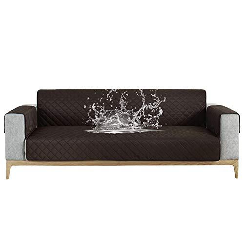 Carvapet Sofabezug wasserdichte Sofaüberwurf Antirutsch Sofahusse Schutz vor Haustier Katze Hunde Sofa überwurf Couch überzug für Sofa (Schwarzer Kaffee, 3 Sitzer)