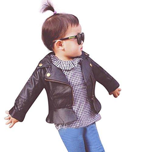 RETUROM Ropa De La Muchacha Niños, Fresca del Cabrito del Niño del BebÉ De La Manera Chaqueta De Cuero Infantil De La Capa con Capucha De La Cremallera Outwear Coats (90)