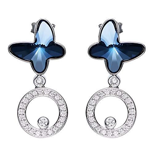 Gnzoe Orecchini da donna in argento sterling 925 Farfalla Orecchini Gocce e pendenti Blu