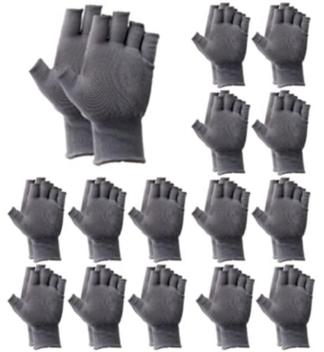 heizi 指なし手袋 15双セット 軍手 滑り止め 加工 作業用 手袋 通気 吸汗 伸縮 手汗 対策 ガーデニング グローブ (灰色)