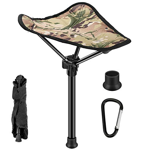Allnice Camping Stool Retractable Folding Tripod Stool Portable Stick Chair for Indoor Outdoor Fishing Walking Hunting Hiking Travel Gardening, 24' to 35' Adjustable Height, Weight Up to 330lb(150kg)