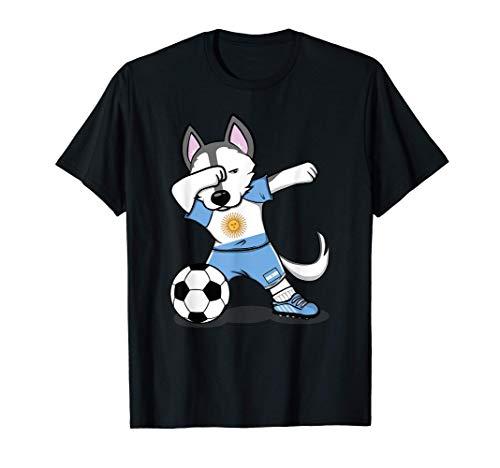 Dabbing Husky Dog Argentina Fútbol - Bandera Argentina Camiseta