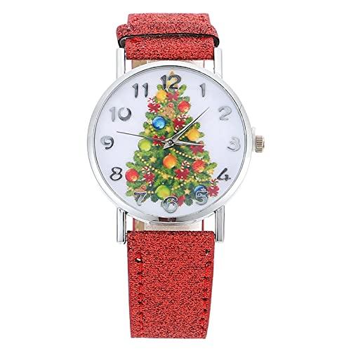 ibasenice Women Watch Fashion Christmas Tree Pattern Wristwatch Elegant Leather Strap Watch Decorative Watch Students Watch for Woman Girls Red